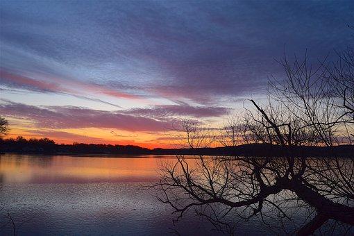 Sunset, Lake, Colorful, Clouds, Sky, Orange, Pink, Blue