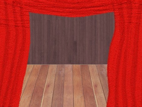 Curtain, Red, Theater, Puppet Theatre, Play, Christmas