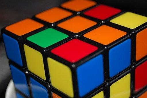 Rubik's, Cube, Color, Square, Red, Green, Orange