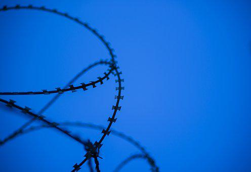 No One, Sky, Barbed Wire, Razor, Blue, Knife, Sharp