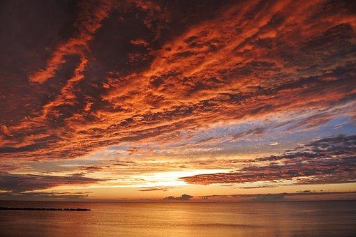 Japan, Natural, Landscape, Sea, Cloud, Sunset