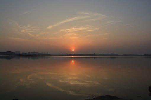 Sunset, Dawn, Waters, Sun, Twilight, Landscape, Nature