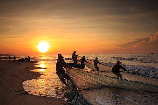 The Fishermen, Vietnam, Fishing, The Beach, Binh Thuan