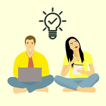 Brain Storming, Thinking, Man And Woman, Teamwork