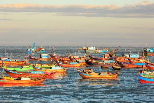 Fishing, The Boat, Nha Trang, Village, Vietnam, The Sea
