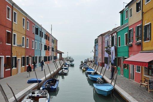 Channel, Burano, Homes, Venezia, Boats, Color