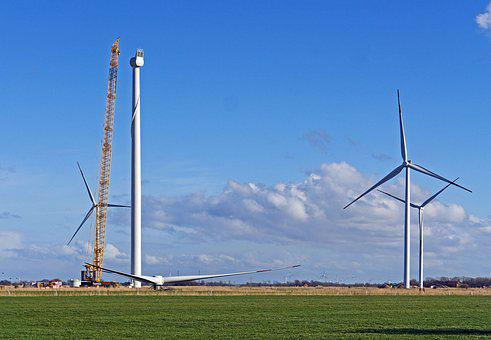Wind Power, Pinwheel, Building, Installation, Crane