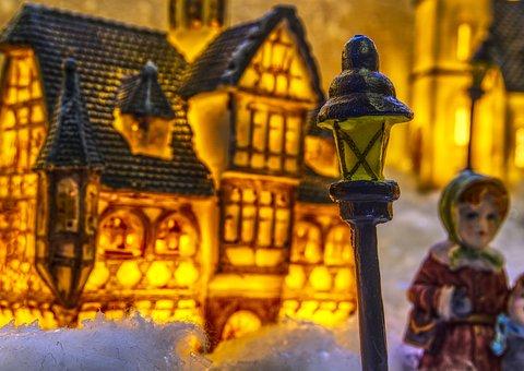 Christmas, Christmas Village, Lantern, Street Lamp