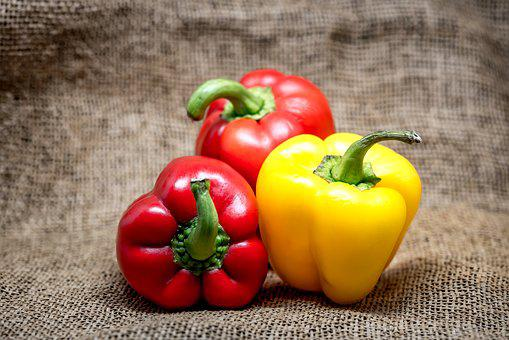 Bell, Pepper, Red, Yellow, Coloured, Different, Food