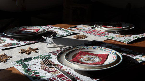 Plate, Cover, Fork, Table, Christmas, Decorate