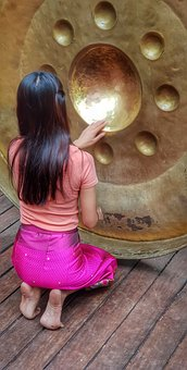 Female, Hands, Stroking, Religious, Gong, Buddhist