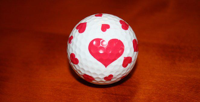 Golf Ball, White, Heart, Love, Wood, Golf, Ball