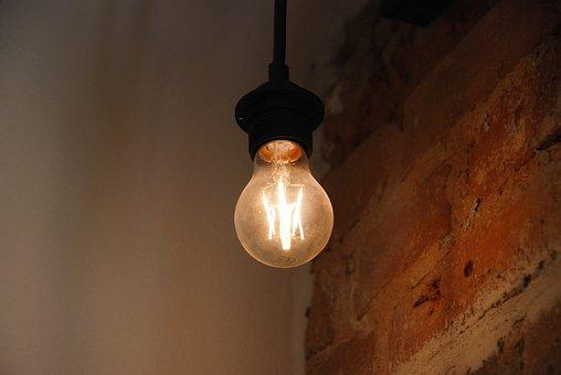 Lamp, Light, Bulb, Indoors, Illuminated, Bricks