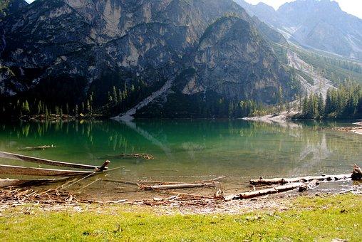 Nature, Waters, Mountain, Landscape, Wood, Lake, Log
