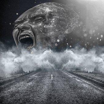People, Adult, Storm, Monochrome, Vehicle, Calamity