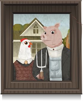 American Gothic, Grant Wood, Painting, Hen, Chicken