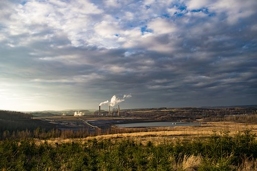 Factory, Landscape, Lake, Power Station, Chimneys
