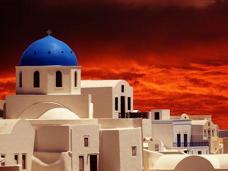 Santorini, Ia, Oia, Sunset, Clouds, Cyclades, Greece