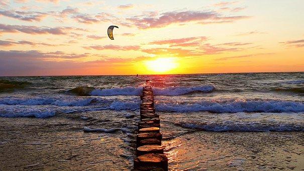 Groynes, Kitesurfer, Sunset, Sea, Wave, Evening Sun