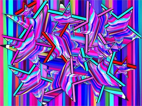 Stars, Beveled, 3d, Abstract, Stripes, Vibrant, Fun