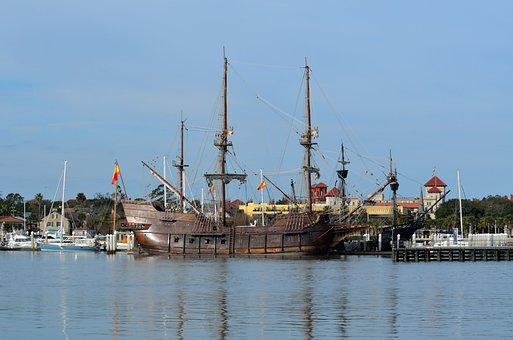 Water, Ship, Harbor, Boat, Pier, Galleon, Historic