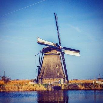 Windmill, Waters, Grinding, Wind, Sky