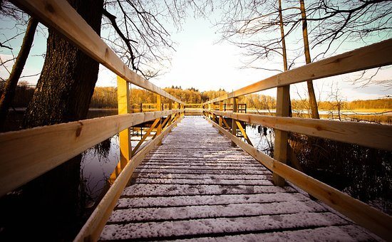 Bridge, At The Court Of, Nature, Wooden, Architecture
