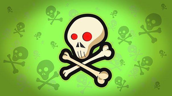 Skull, Fear, Halloween, Bone, Red Eyes, Illustration