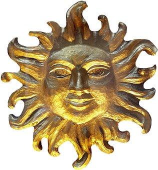 Sun, Carving, Woodcut, Gold