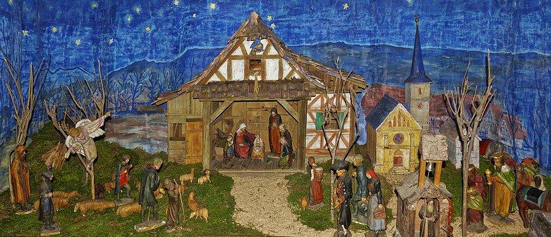 Nativity Scene, Crib, Village Nativity, Bauer Crib