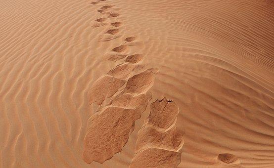 Sand, Desert, Sandy, Arid, Footprint