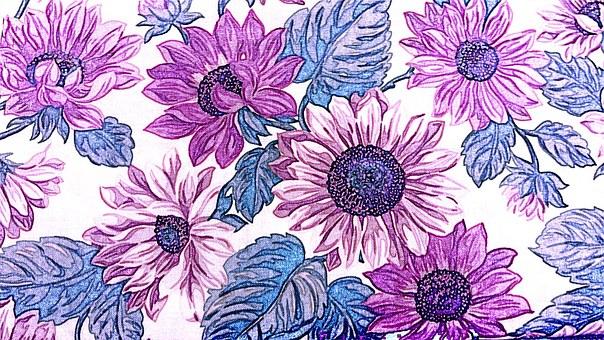 Fabric, Flowers, Floral, Design, Pattern, Vintage