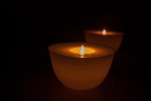 Candle, Glimmer Of A Candle, Flame, Wax, Reflection