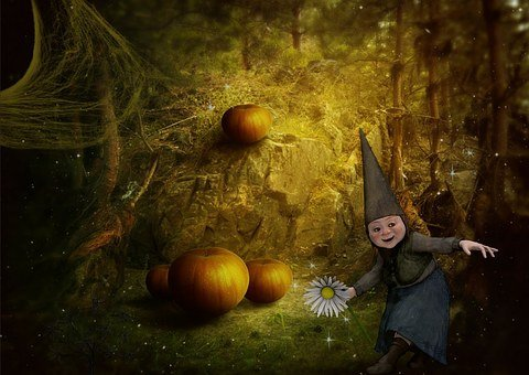 Gnome, Fantasy, Forest, Young, House, Dark, Pumpkin