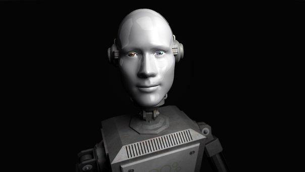 Man, Robot, Droid, Grey, Background, Installation
