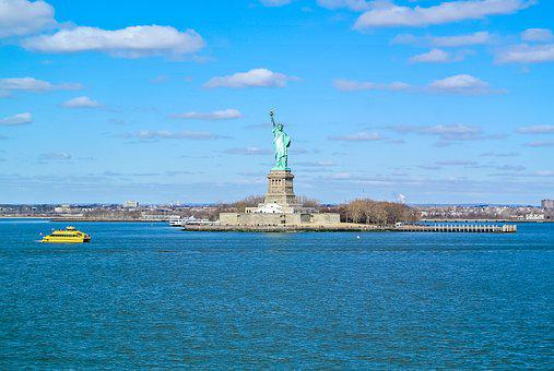 Water, Sky, Statue, Freedom, New, York, Usa