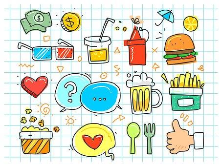 Colorful Doodle, Soda, Cartoon, Set, Fries, Fast, Eat