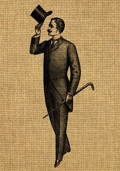 Vintage, Man, Gentleman, Hat, Suit, Cane, Walking Stick