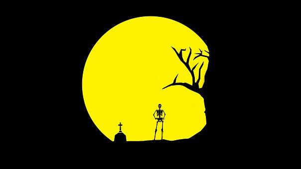 Skull, Tree, Grave, Skeleton, Moon, Yellow, Wallpaper