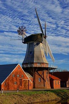 Sky, Windmill, Dutch, East Frisia, Grind Grain