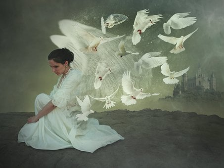 Human, Adult, Woman, Angel, Fantasy, Fee, Sad, Wing