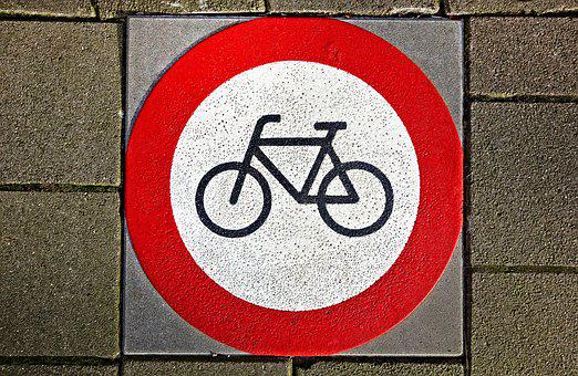 Bicycle, Sign, No Parking, No Bikes, Icon, Symbol