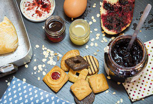 Food, Snack, Dessert, Fruit, Jam, Biscuits, Blueberry