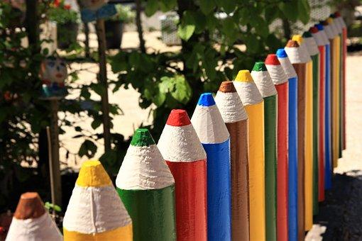 Garden Fence, Pencil, Colored Pencil, Summer