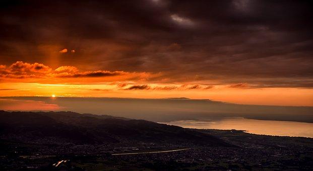 Sunset, Dusk, Panorama, Sun, Lake Constance, Outlook