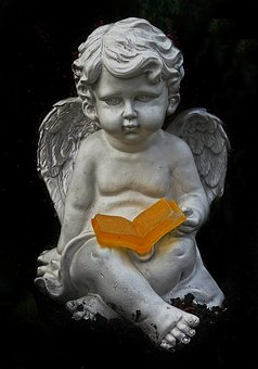Angel, Wing, Book, Ceramic, Sitting, Figure, Old