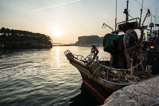 Ship, Port, Sea, Times, Fishing, Sunset, Jeju Island
