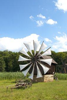 Outdoors, Sky, Summer, Grass, Tree, Field, Wind, Mill