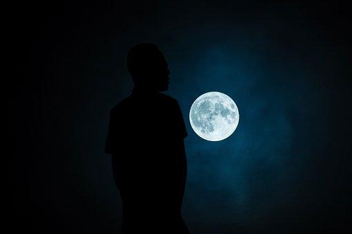 Moon, Dark, Insubstantial, Illuminated, Light