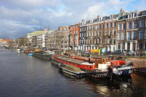 Canal, Building, Boat, City, Amsterdam, Netherlands